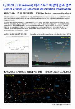 C/2020 S3 (Erasmus) 에라스무스 혜성의 관측 정보  Comet C/2020 S3 (Erasmus) Observation Information