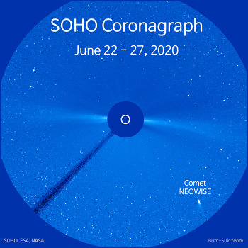 6-day movie of Comet NEOWISE recorded by the SOHO C3 coronagraph 네오와이즈 혜성의 동영상