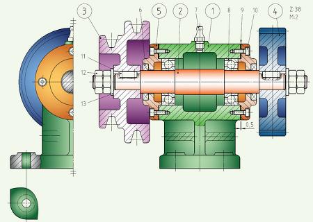 전산응용기계제도기능사실기-동력전달장치 2 과제도면 해석