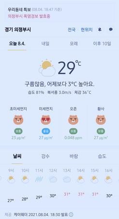 경기도 의정부시 날씨 2021년 8월 4일. 오늘의 날씨, 폭염경보보 발효중, 오늘 날씨, 2021 0804, 초미세먼지, 미세먼지, 황사, 자외선