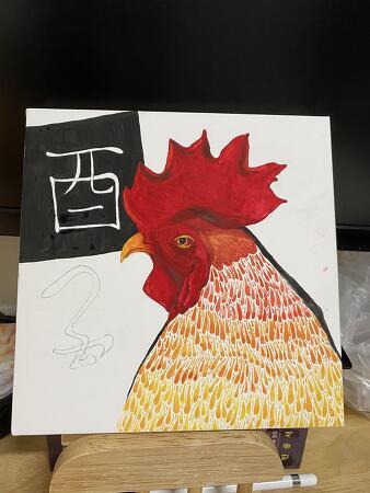 아크릴 물감으로 셀프 닭그림 그리기