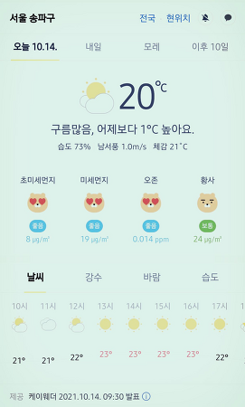 서울 강남 송파구 날씨 2021년 10월 14일. 서울 강남구 오늘의 날씨, 오늘 날씨, 2021 1014, 초미세먼지, 미세먼지, 황사, 자외선