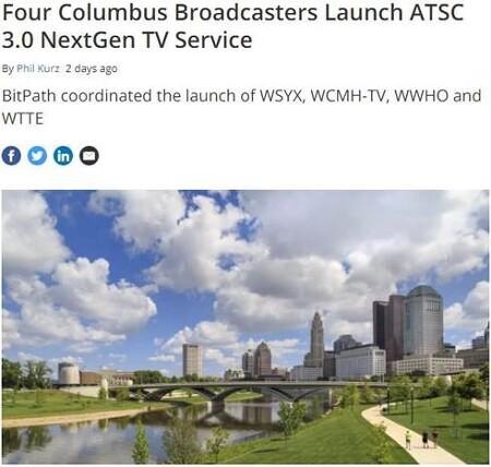 미국 오하이오주 콜럼버스 주요 방송국 ATSC 3.0 기반 차세대 방송서비스 상용 송출 시작