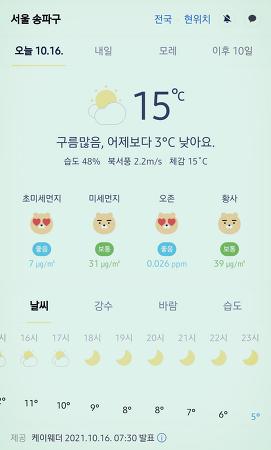 서울 강남 송파구 날씨 2021년 10월 16일. 서울 강남구 오늘의 날씨, 오늘 날씨, 2021 1016, 초미세먼지, 미세먼지, 황사, 자외선