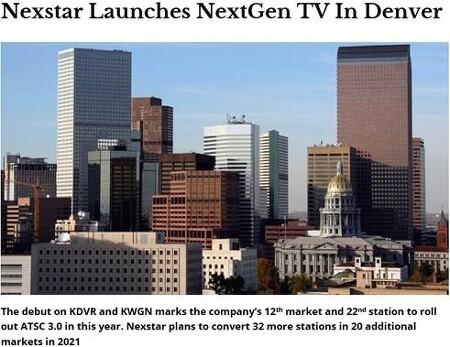 미국 콜로라도주 덴버에서 ATSC 3.0 기반 차세대 방송서비스 상용 송출 시작