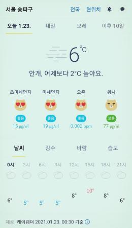 서울 강남 송파구 날씨 2021년 1월 23일. 서울 강남구 오늘의 날씨, 오늘 날씨, 2021 0123, 초미세먼지, 미세먼지