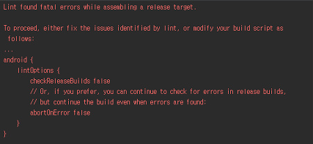 Lint found fatal errors while assembling a release target.