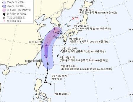 5호 태풍 다나스 이동경로 한국,일본,미국 비교 해보니 (기준일 2019.07.18 12:00)