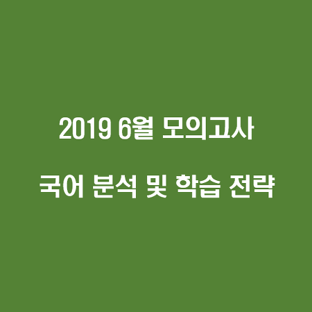 2019년 6월 모의고사 국어 분석 및 학습 전략(확정 등급컷, 난이도, 오답률)