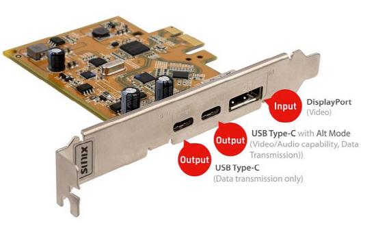 PC 에 DisplayPort 지원되는 USB C 포트 확장카드.