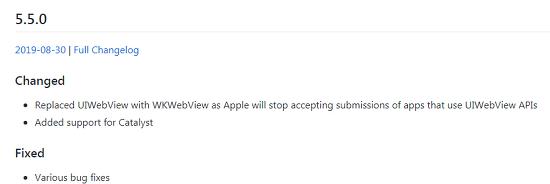 UIWebView가 포함된 빌드를 올리면 앱스토어에서 오류가 발생합니다