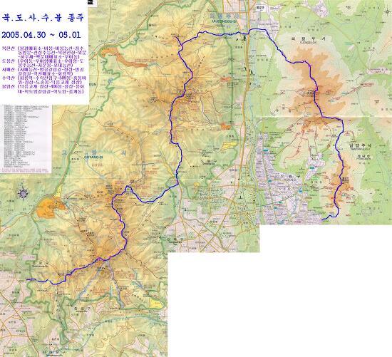 불수사도북 42km 지도, GPS/GPX 파일