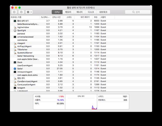 MacOS - CPU, Storage, Memory 등 실시간 사용량 확인