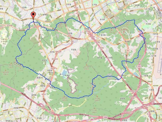 관악환종주(관청인대구우) 40km 지도, GPS/GPX