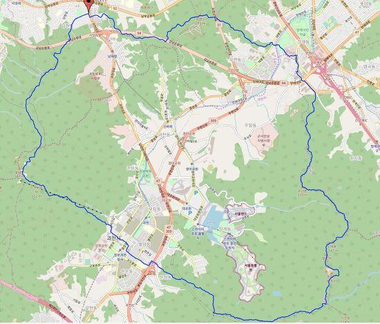 관청우(관악산,청계산,우면산) 환종주 27km 지도  GPS/GPX 파일