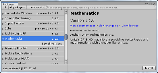 [Unity][DOTS] Unity.Mathematics 라이브러리 사용하기