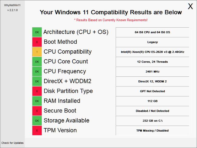 WhyNotWin11: 내 PC가 윈도우 11과 호환되지 않는 이유