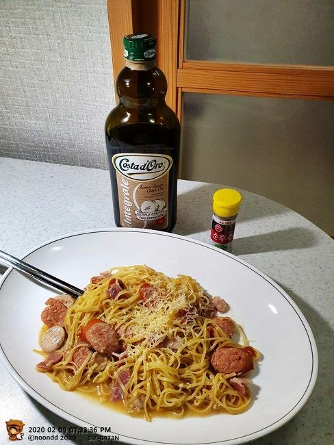 요리 - 베이컨, 소시지 파스타