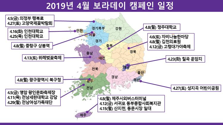 2019년 4월 보라데이 캠페인 일정
