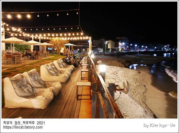 [적묘의 울산]달밤, 울산바다, 호피폴라, 오션뷰카페,바닷가 카페,파도소리, 커피가 맛있는 카페,밤바다