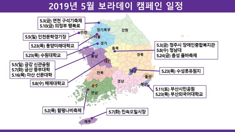2019년 5월 보라데이 캠페인 일정