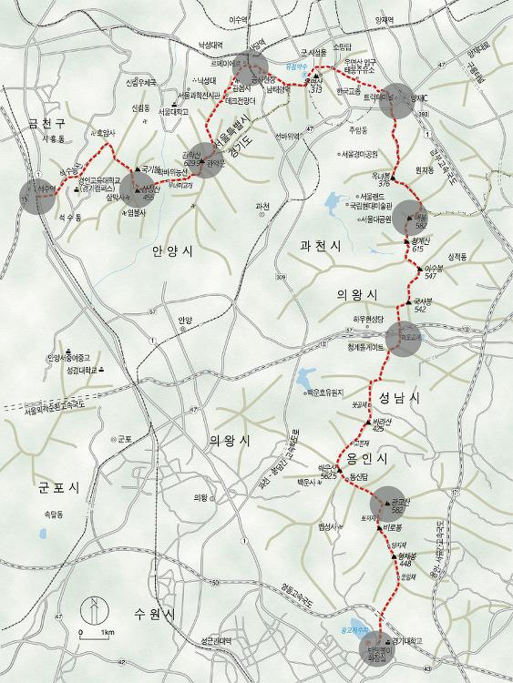 강남7산 , 삼관우청광 지도 , GPS/GPX  45km