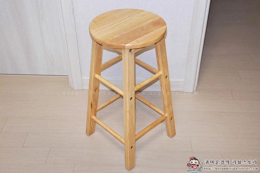 [홍보입니다] [롯데홈쇼핑] 리빙숲 원목 원형 바스툴 높은 의자