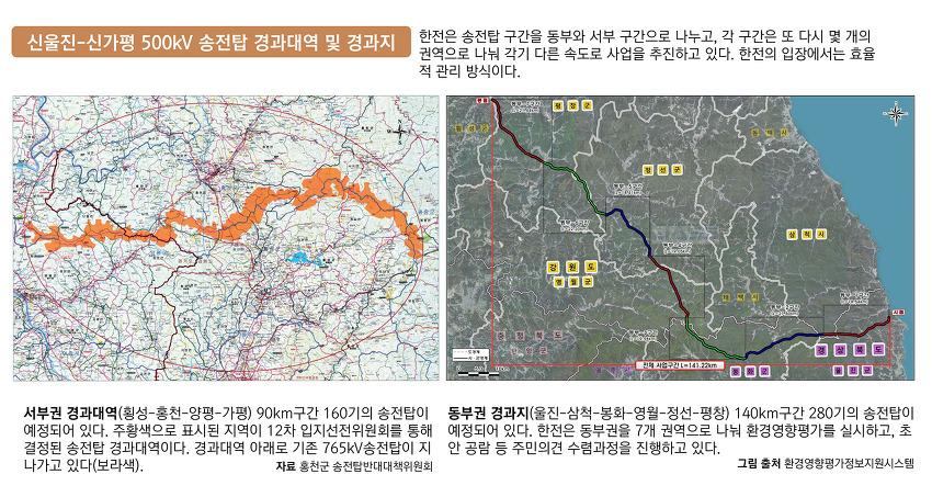 울진-강원-경기 걸쳐서초고압 송전탑 440기 건설 계획