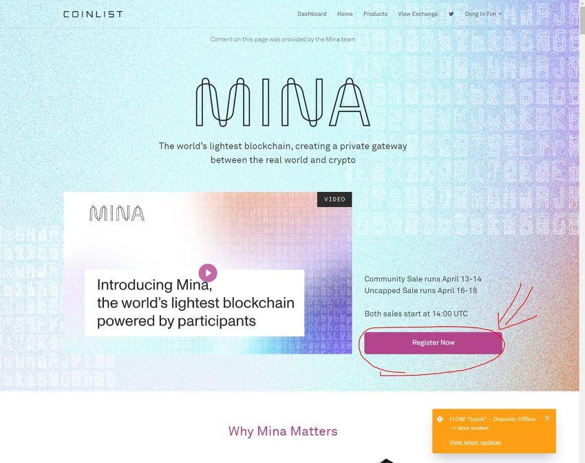 미나 프로토콜 (Mina Protocol) ICO 참여하기  by 코인리스트 (coinlist)