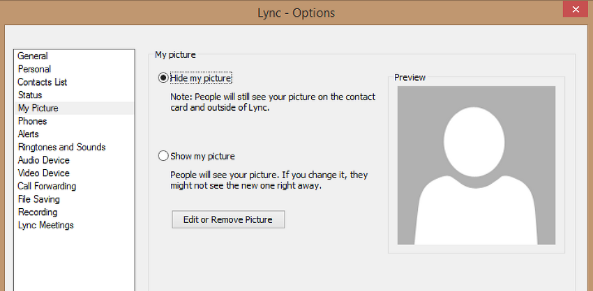 """Lync 2013 Client """"Show a picture from a website"""" option"""