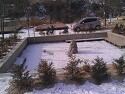 눈이쌓인 분수대