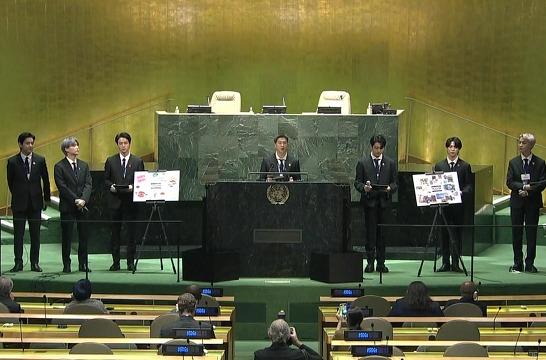 """[현장영상] BTS, 유엔 무대 연설 """"미래세대의 이야기 전하러 와"""""""