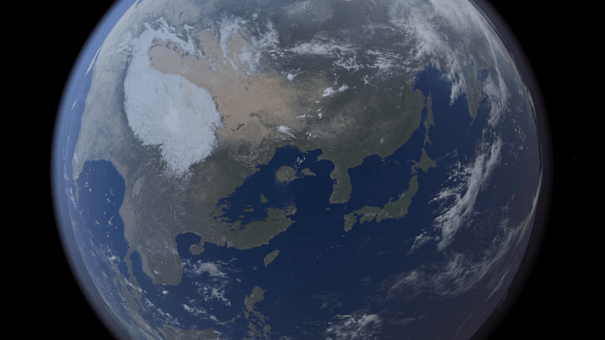빙하가 녹은 경우 동아시아 지도 - 꾸르