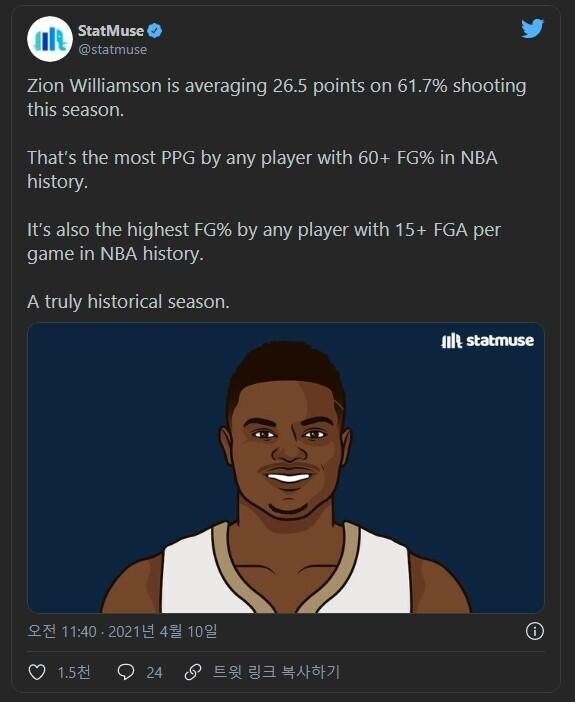 NBA 역사상 두 개의 신기록을 작성하고 있는 자이언 윌리엄슨 - 꾸르