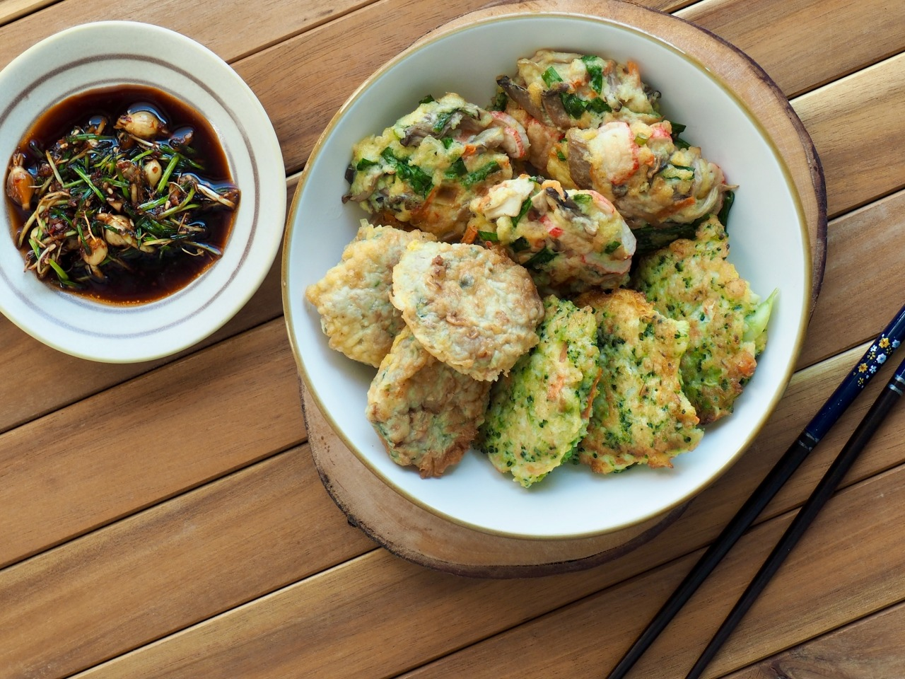 Assorted jeon, pan-fried battered food