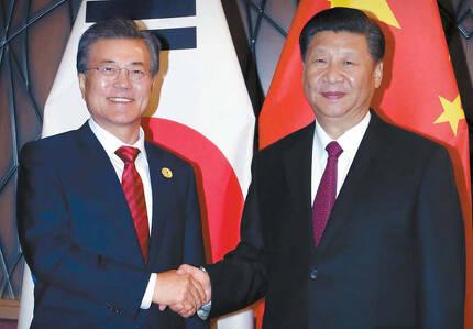 문재인 대통령과 시진핑 중국 국가주석이 11일 베트남 다낭 크라운플라자호텔에서 한·중 정상회담을 하기에 앞서 악수를 나누고 있다. 다낭=김상선 기자
