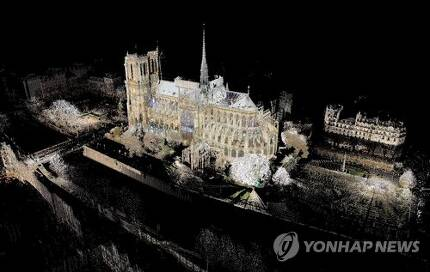 탤런 교수의 노트르담 대성당 3D 레이저 스캔 자료 [AFP=연합뉴스]
