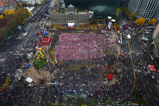 지난달 14일 오후 서울 중구 시청 서울광장에서 열린 민중총궐기대회에서 참가자들이 행진을 준비하고 있다. / 사진 = 머니투데이DB