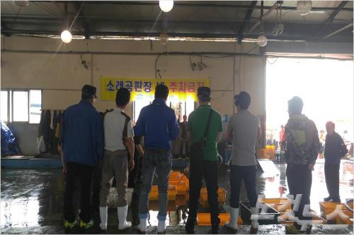 지난 2일 인천 소래포구 공판장에서 경매가 진행됐지만, 수산물 물량이 적어 맥빠진 모습이었다. (변이철 기자)