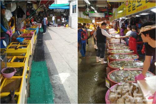 지난 2일 소래포구 재래어시장의 모습. 5월 대목에도 손님이 없어 한산한 모습을 보이고 있다. (변이철 기자)