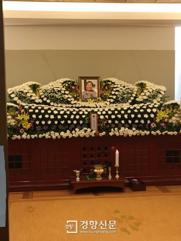 서울 종로구 서울대병원 장례식장에 마련된 고 백남기씨 빈소. 백경열 기자