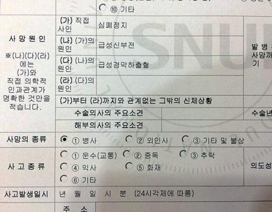 서울대병원이 작성한 백남기 농민 사망진단서. 사망의 종류란에 '병사'라고 표시돼 있다. 정청래 전 더불어민주당 의원 제공