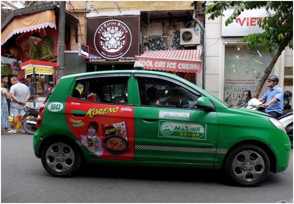 한국의 팔도라면까지 홍보해주시는 마일린 택시. 비나선보다 자주 출몰하는 편.