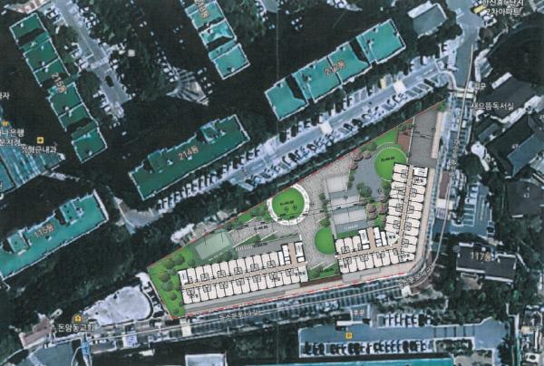 동소문동 행복기숙사 위치도. 위로는 한신한진아파트단지, 아래로는 돈암초등학교 후문이 있다.    한국사학진흥재단 제공