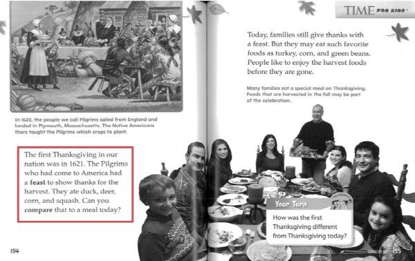 미국 추수감사절의 유래에 대한 내용을 서술하고 있는 영어 교재. pilgrim(순례자), squash(외국 호박) 등 생소한 어휘나  compare(비교하다) 등 추상적 어휘를 사용하고 있다.     사교육걱정없는세상 제공