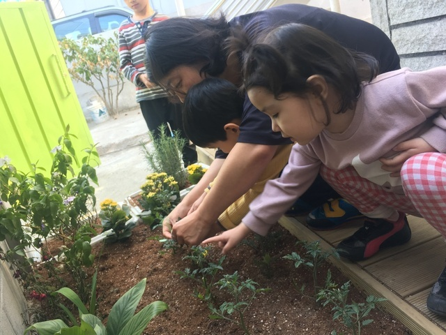 지난달 28일 경기 군포의 이주아동 어린이집에서 아이들이 스스로 심은 방울토마토에 본인의 이름표를 달고 있다.