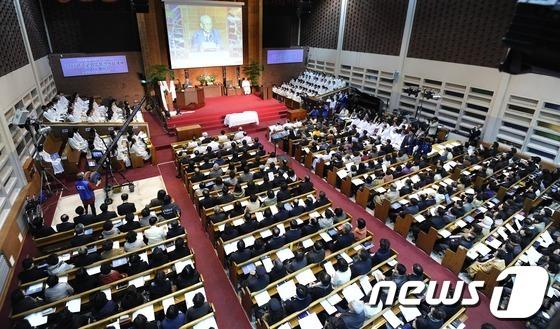 한 교회의 연합예배 장면/뉴스1DB