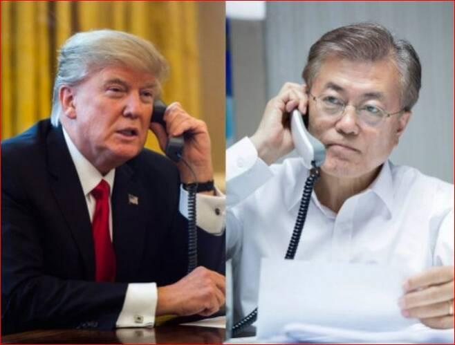 문재인 대통령과 도널트 트럼프 미국 대통령 전화통화. 연합뉴스