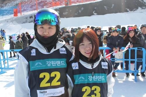 권선우(왼쪽)와 정유림. (평창=연합뉴스)