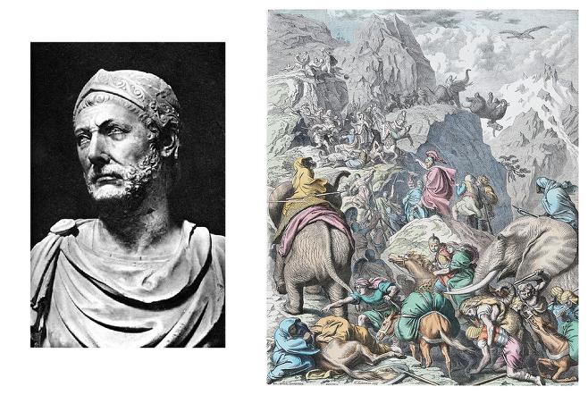 왼쪽: 로마시대 제작된 한니발의 흉상. 오른쪽: 19세기 독일 화가 홀츠슈니트가 그린 '알프스를 넘는 한니발' ⓒ 사진=위키미디어